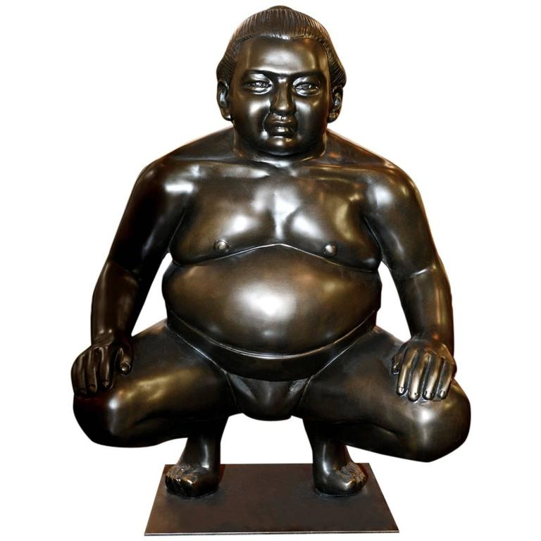 Sumo Sculpture on Metal Base For Sale