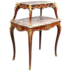 Late 19th Century Louis XV Style Gilt Bronze Mounted Tea Table