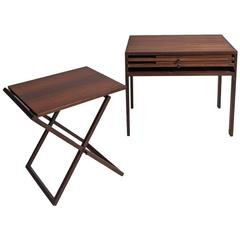 Set of Three Folding Rosewood Tray Tables by Illum Wikkelsø, Silkeborg