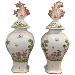 Pair of Italian Faience Covered Vases of Baluster Form with Charming Scenes