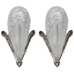 Pair of Gorgeous French Art Deco Relief Glass Sconces by Degue with Bouquet Moti