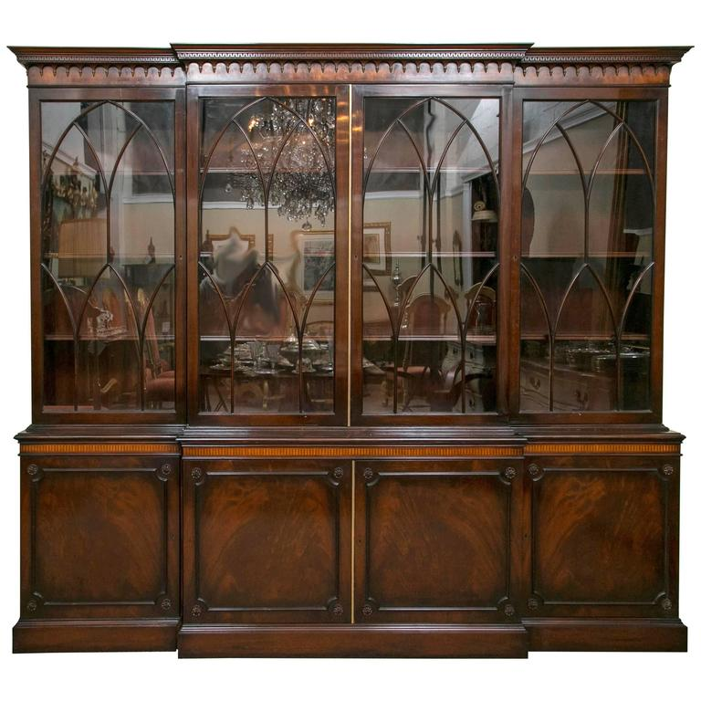 Monumental Signed J. Zonan Mahogany And Satinwood Inlaid Bookcase /  Breakfront For Sale