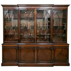 Monumental Signed J. Zonan Mahogany And Satinwood  Inlaid Bookcase / Breakfront