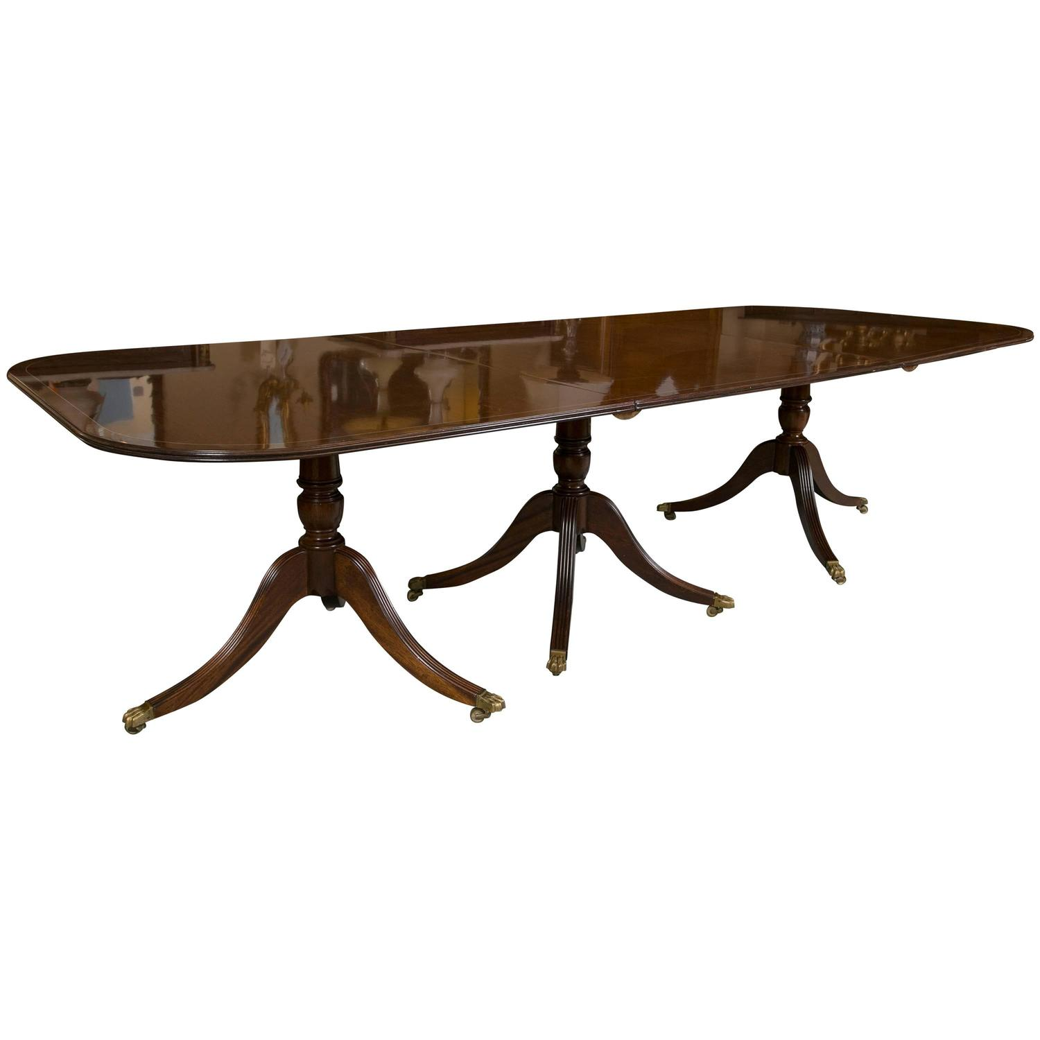 georgian style banded triple pedestal dining room table at 1stdibs