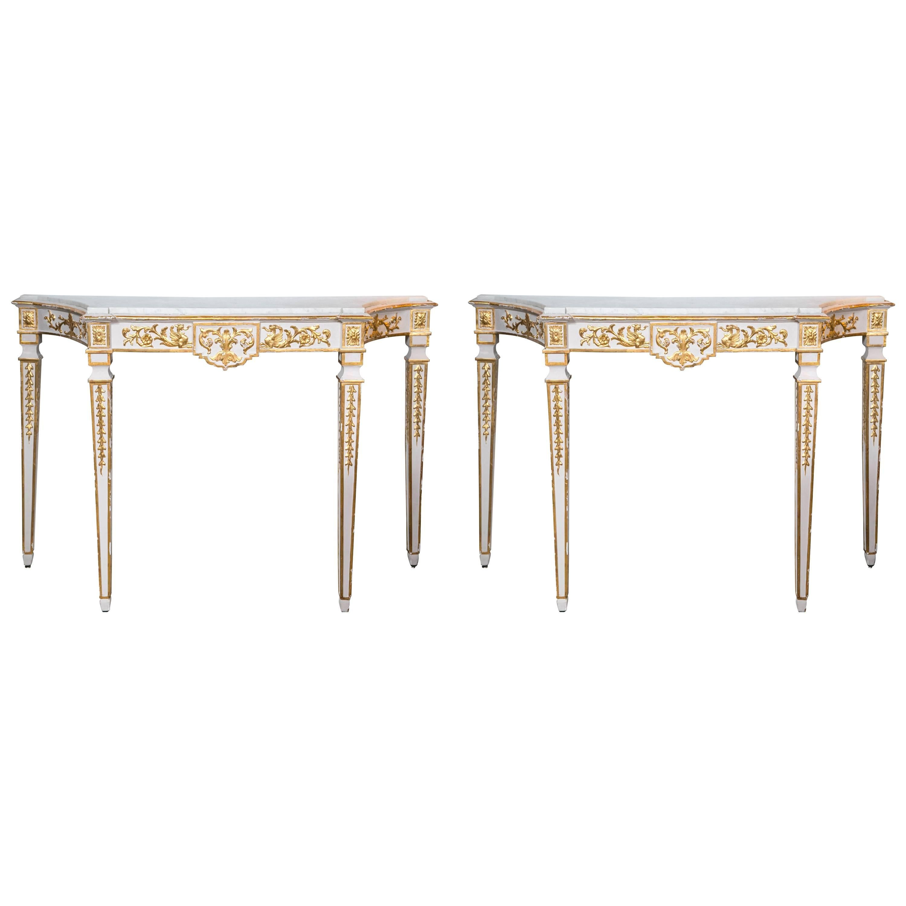 Console Tables Pair Parcel-Gilt and White Painted Italian Neoclassical Style