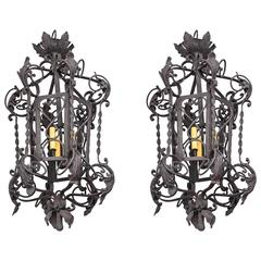 Large Scaled Pair Spanish Colonial Style Three-Light Wrought Iron Chandeliers