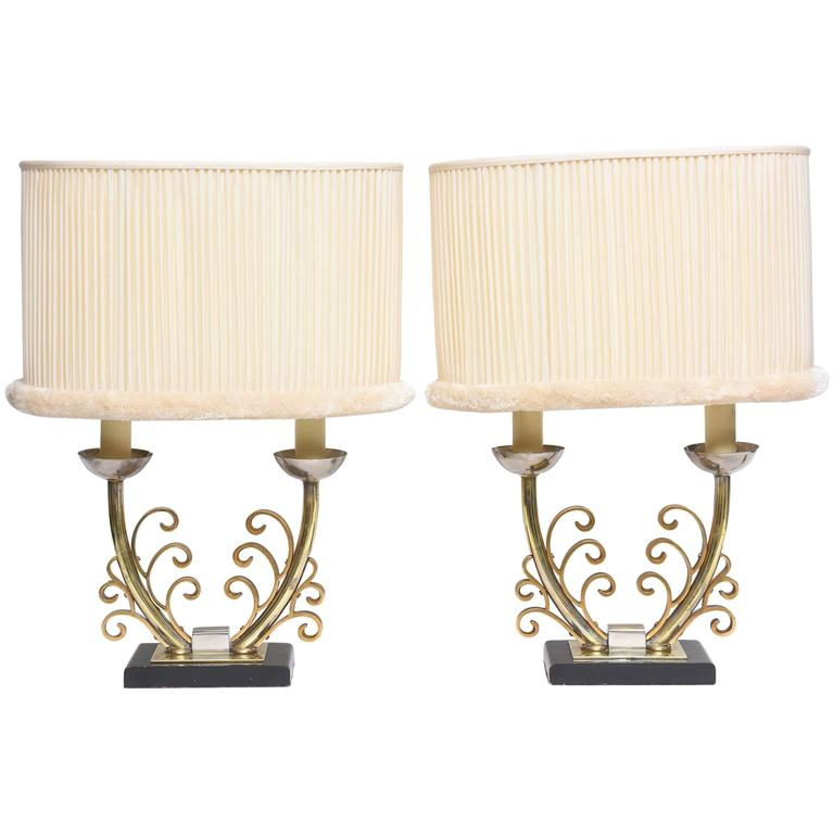 Pair of Art Deco Table Lamps in Brass and Silver with Shades, France, 1920s