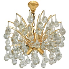 Hollywood-Regency Style Brass and Crystal Chandelier, Ernst Palme, Germany 1970s