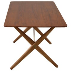 Hans Wegner Coffee Table with Brass Stretchers