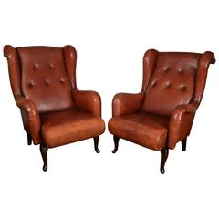 Leather French Club Chairs
