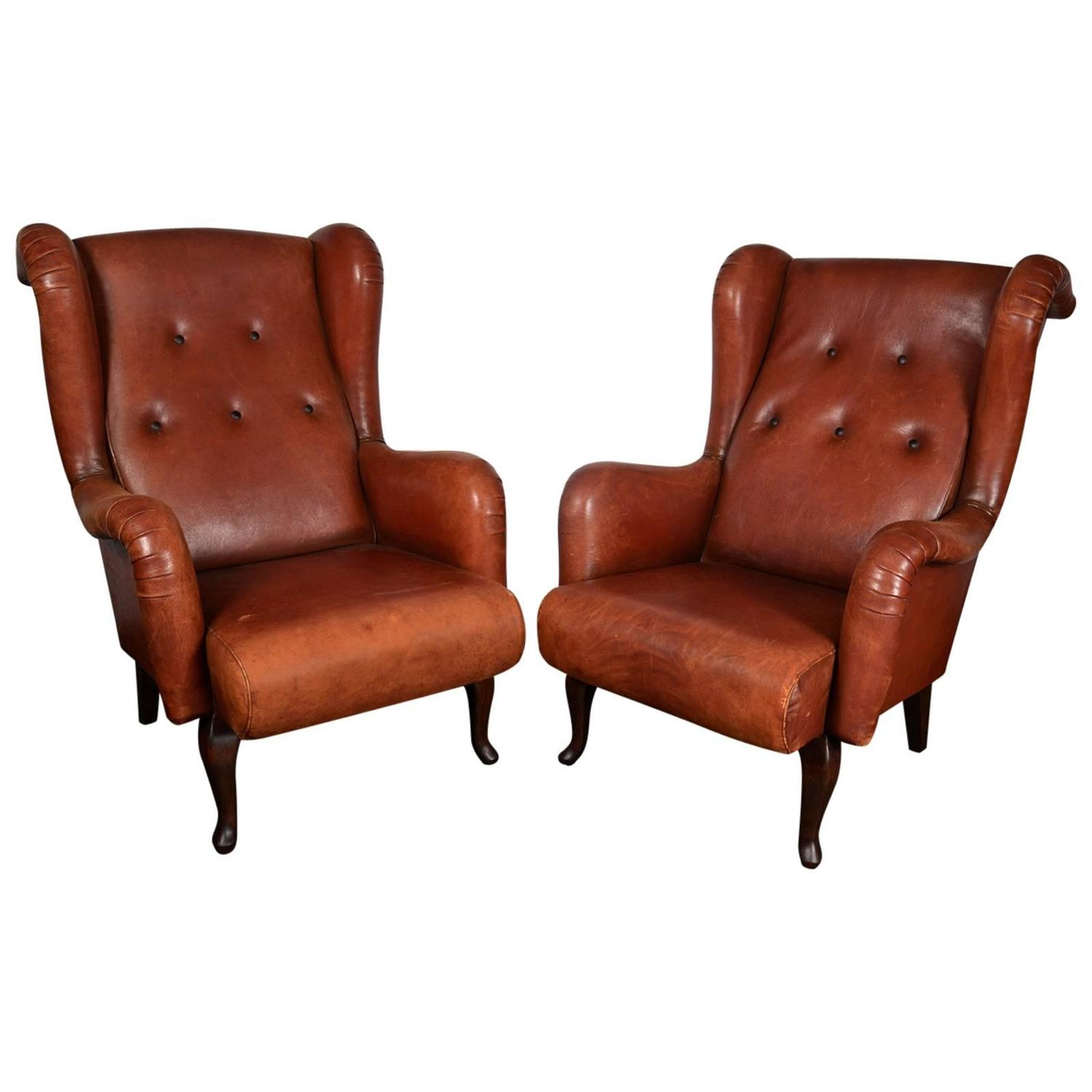 Leather French Club Chairs At 1stdibs