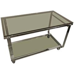 Midcentury Chrome Dessert or Bar Cart on Wheels with Tinted Glass, circa 1970