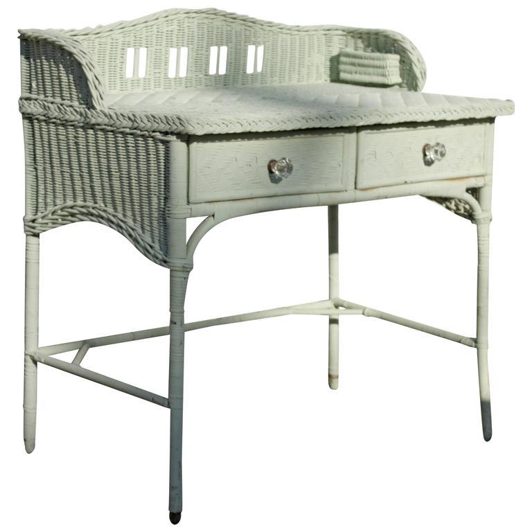 1930s English Seafoam Mint Two-Drawer Bent Leg Wicker Desk with Backsplash 1