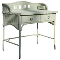 1930s English Seafoam Mint Two-Drawer Bent Leg Wicker Desk with Backsplash