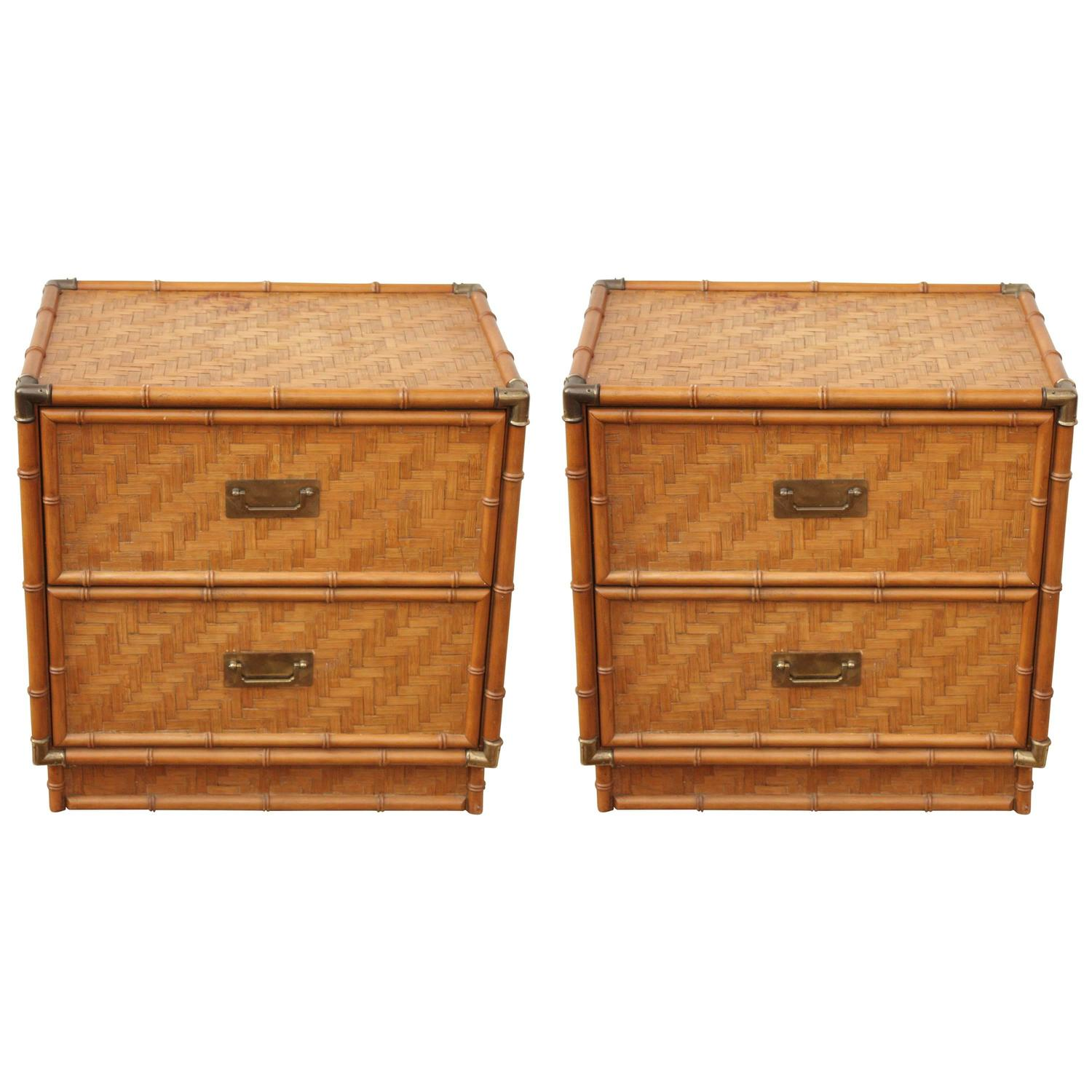 1950 rattan wrapped bamboo brass framed two drawer for Rattan bedroom furniture