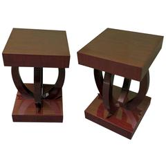 Pair of 1930 Square Mahogany Stained Black Italian Art Deco Side Tables