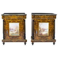 Antique Pair Pier Cabinets with Porcelain Plaques, circa 1880