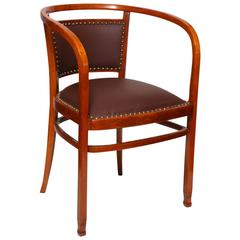 Otto Wagner Secessionist Bentwood and Leather Armchair, J&J Kohn, 1906