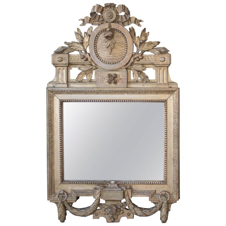 French Louis XVI Giltwood Mirror For Sale
