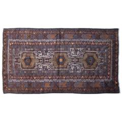 Brown and Green Antique Baluchi Rug