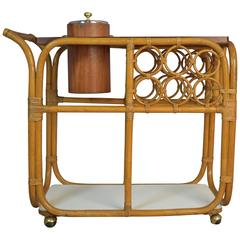 Bar Cart or Server with Ice Bucket in Rattan and Teak, Mid-Century Modern