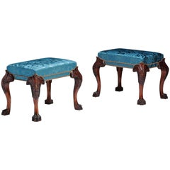 Pair of Claw Foot Stools in the style of Thomas Chippendale