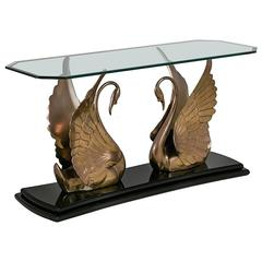 Jet Black Lacquer and Brass Swan Console Table, 1970s