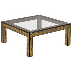 Square Mastercraft Acid Etched Brass and Ebonized Coffee Table
