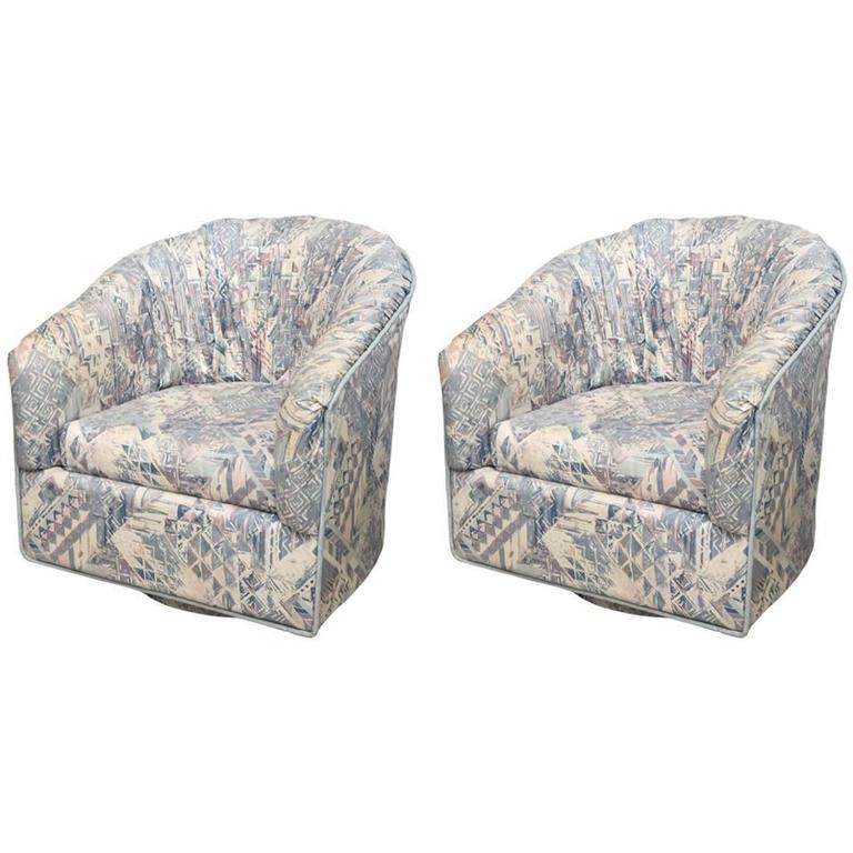 Pair of Milo Baughman Swivel Chairs, 1970s, USA