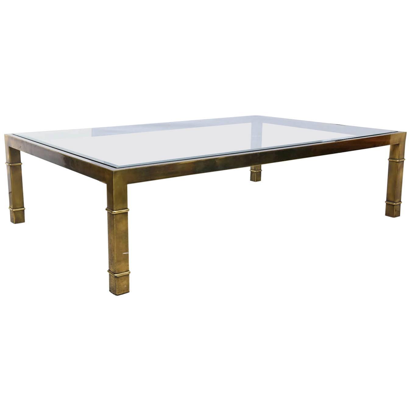 Custom Brass Coffee Table: Custom Monumental Brass Coffee Table By Mastercraft, USA