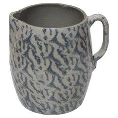 19th Century Spongeware Pottery Large Milk Pitcher