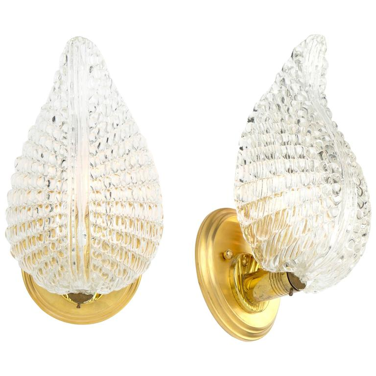 Murano Glass Leaf and Brass Wall Sconces For Sale at 1stdibs