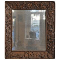 Mirror with Carved Woden Frame