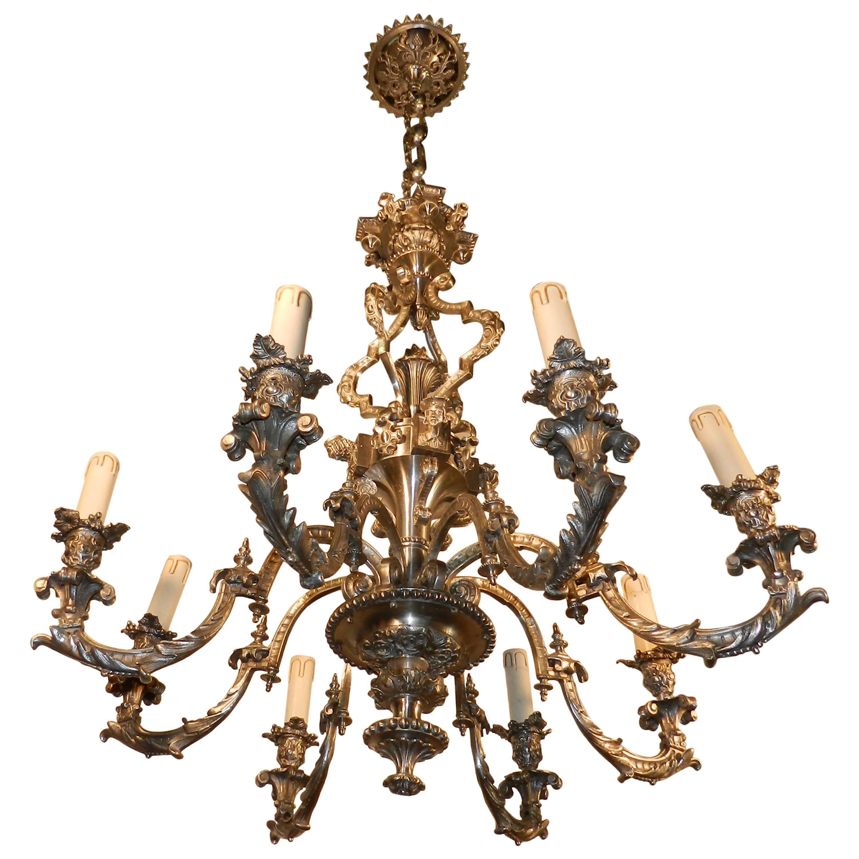 19th French Silvered Bronze Neoclassical Eight-Light Chandelier