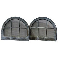 Pair of Arched Copper-Cladded Windows