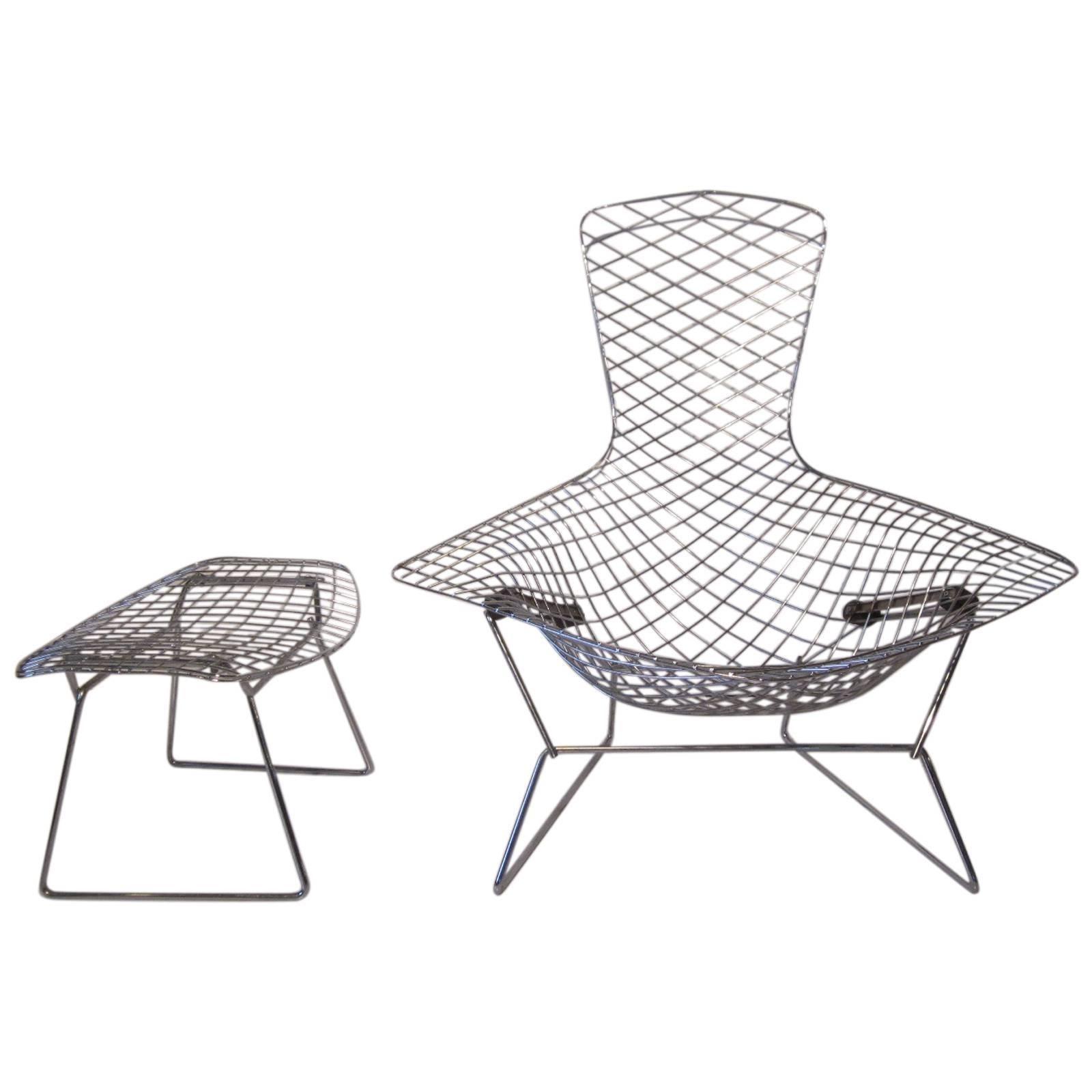 harry bertoia chrome bird chair with ottoman for knoll at 1stdibs