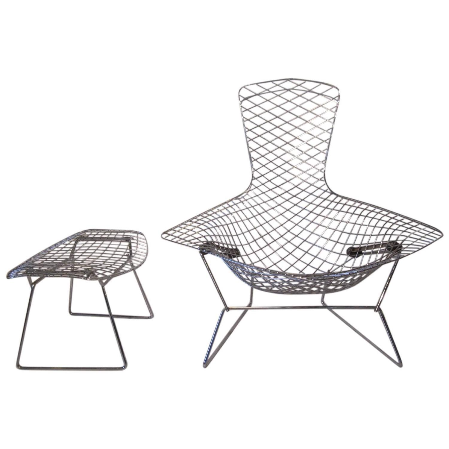 Harry Bertoia Chrome Bird Chair With Ottoman For Knoll At