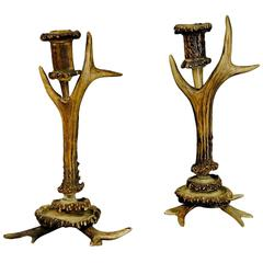 Two Antique Rustic Antler Candleholders