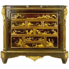 Gilt Bronze-Mounted Lacquered Commode, circa 19th Century, France