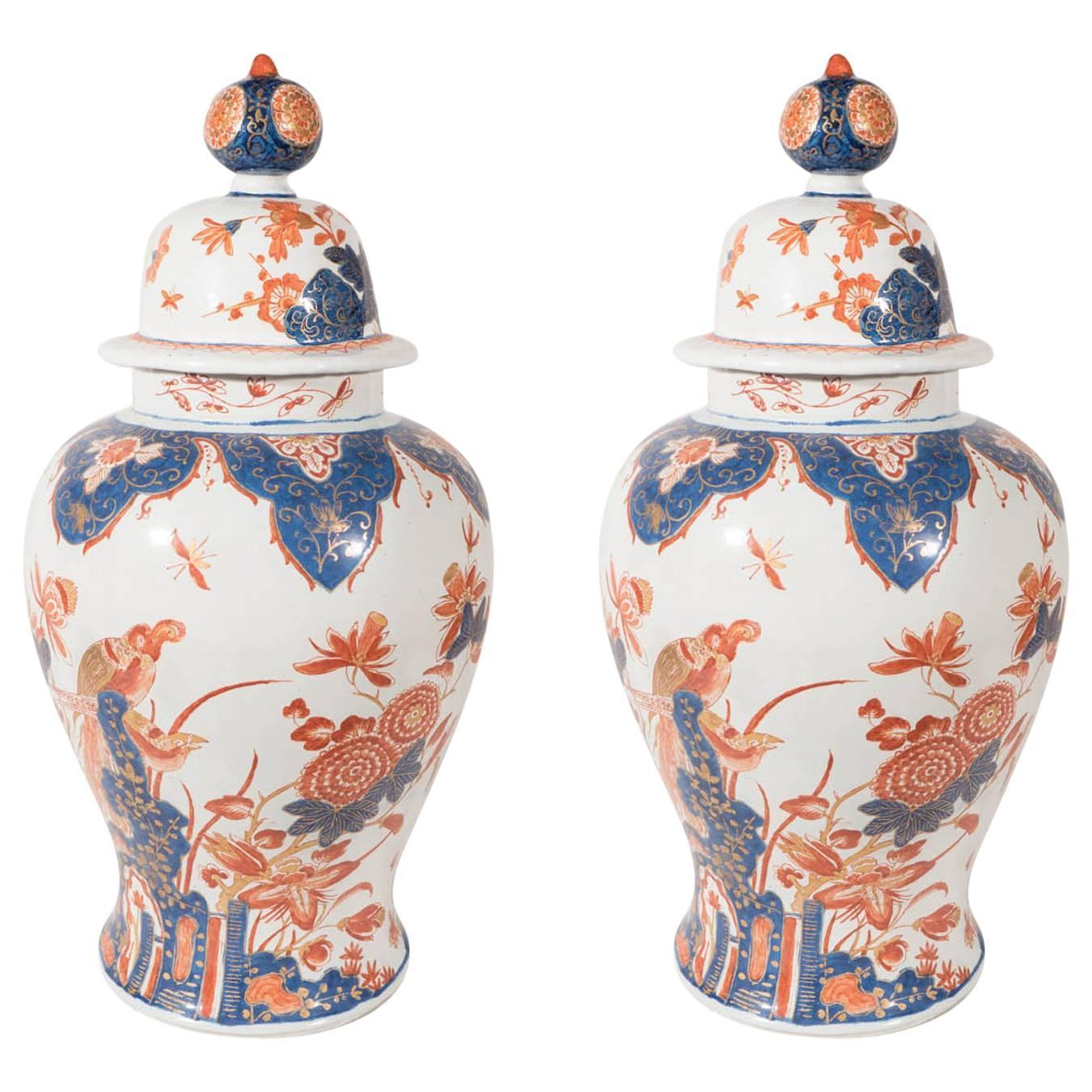 Pair antique delft ginger jars imari style at 1stdibs reviewsmspy