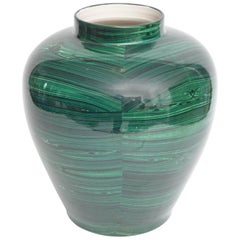 Tommaso Barbi Glazed Ceramic Faux Malachite Urn, Italy 1980s