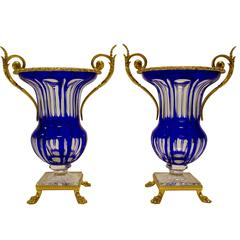 Pair of French Two-Handed Gilt-Metal Cobalt-Blue and Clear Crystal Faceted Vases
