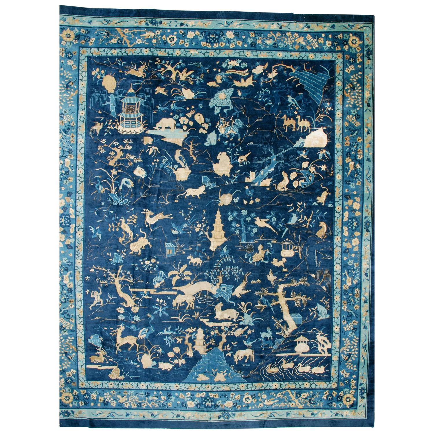 Antique Peking Chinese Oversized Oriental Rug At 1stdibs
