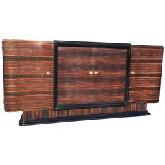 Grand French Art Deco Sideboard  Macassar Ebony Buffet by Maurice Allais.