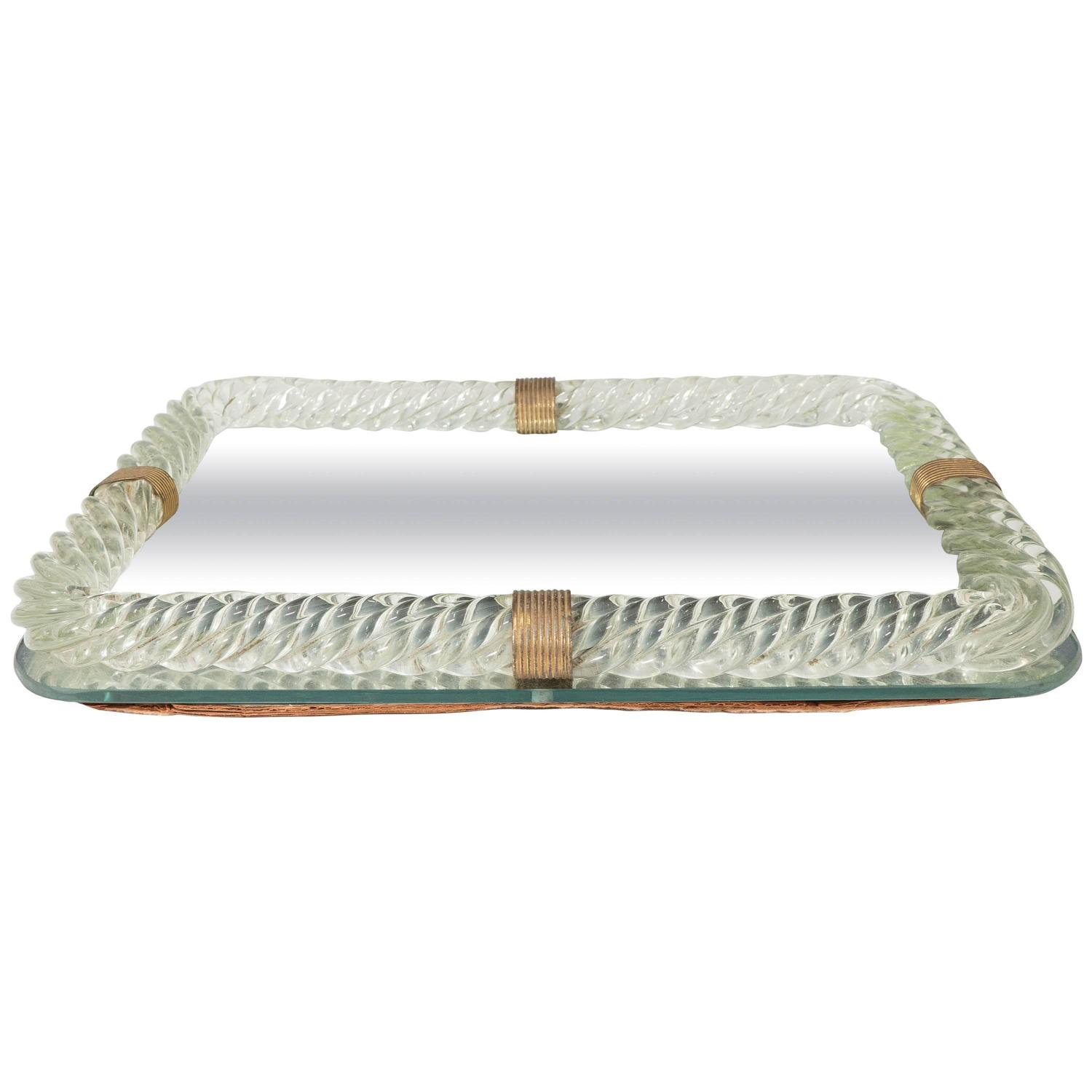 Venini glass mirrored vanity tray with twisted frame at for Mirrored bathroom tray
