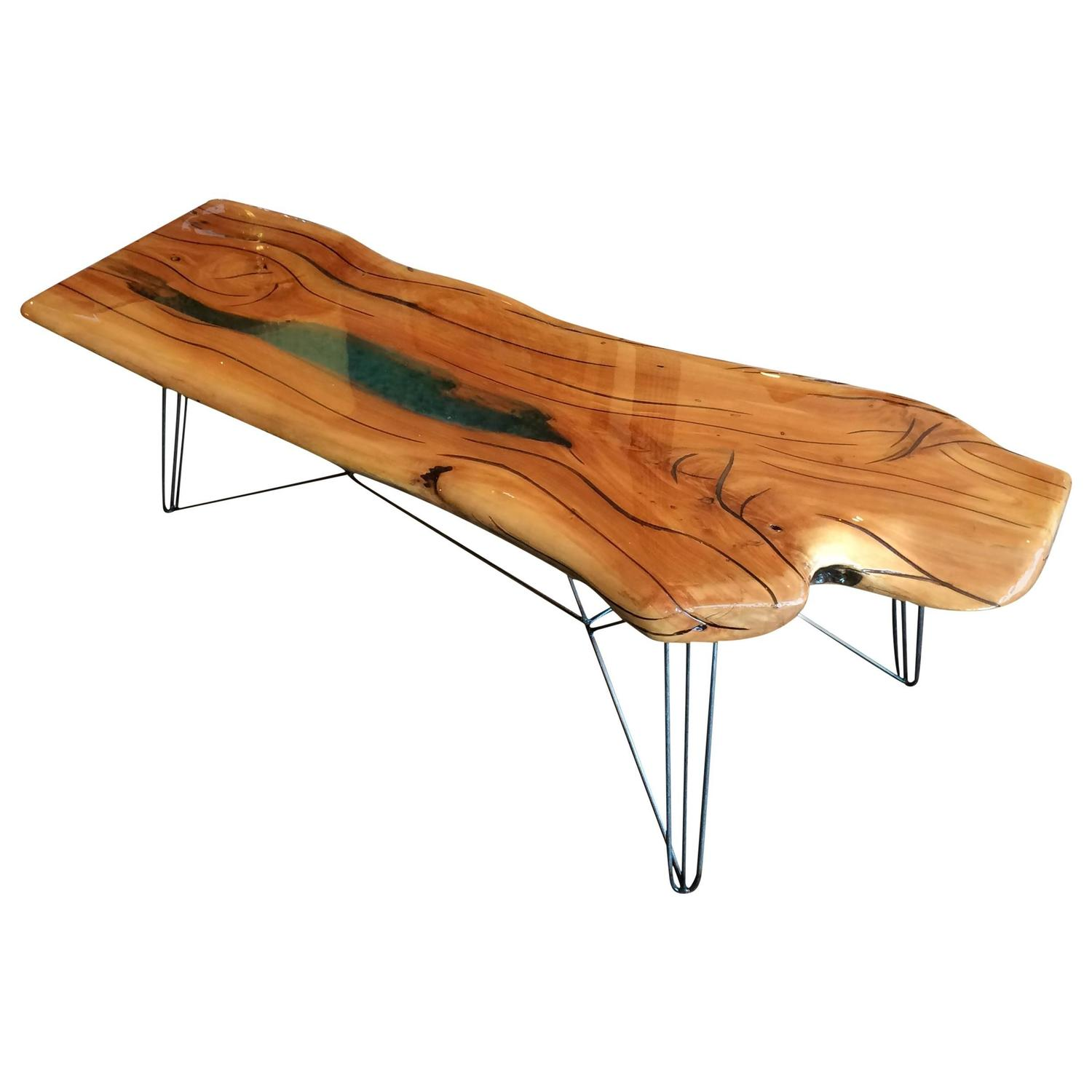 Live edge oak slab coffee table eiffel wire base for Wire coffee table