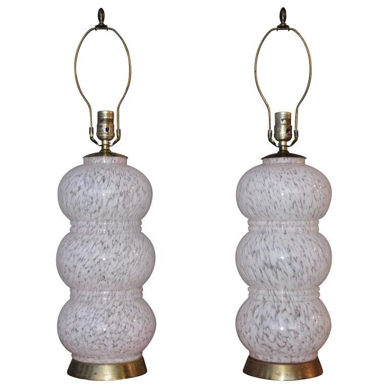 Pair Murano Mottled Pink and Clear Stacked Glass Table Lamps