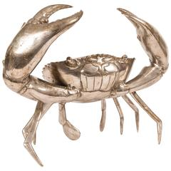 Large Silver Plated Bronze Crab Sculpture