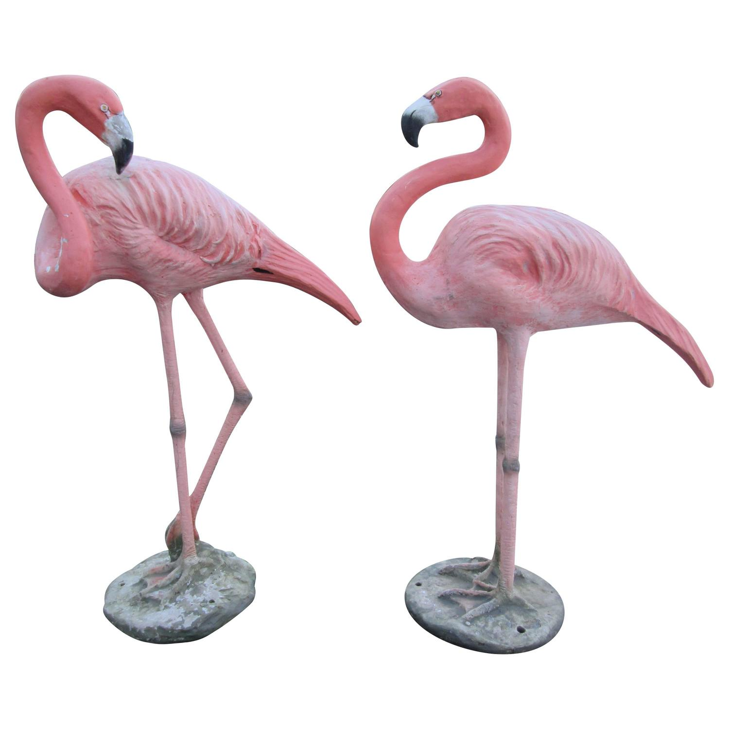 Pair Of Cast And Painted Garden Flamingos At 1stdibs