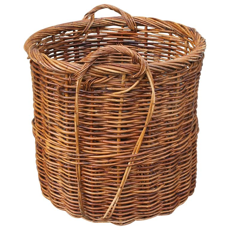 Monumental 19th Century Double Handled Field Basket